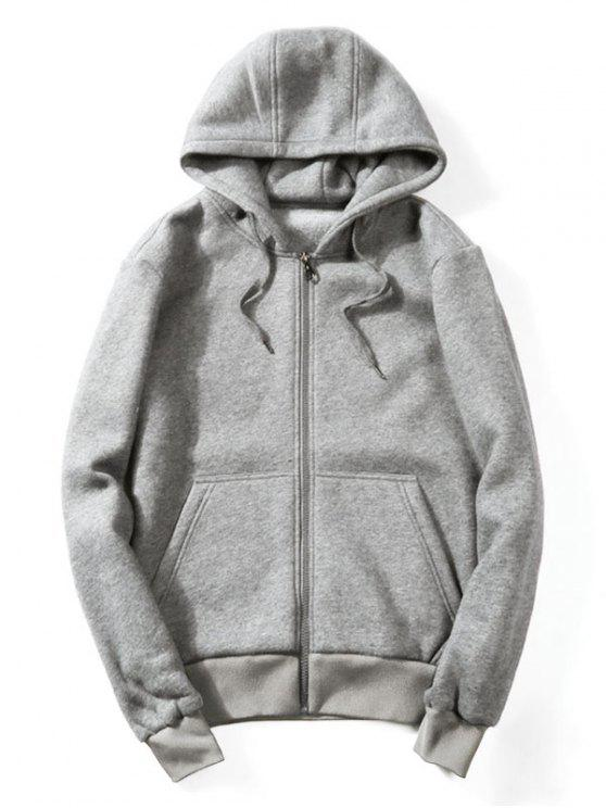 affordable Drawstring Kangaroo Pockets Zip Up Hoodie - GRAY L