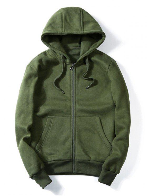 Drawstring Kangaroo Pockets Zip Up Hoodie - Bundeswehrgrün 2XL
