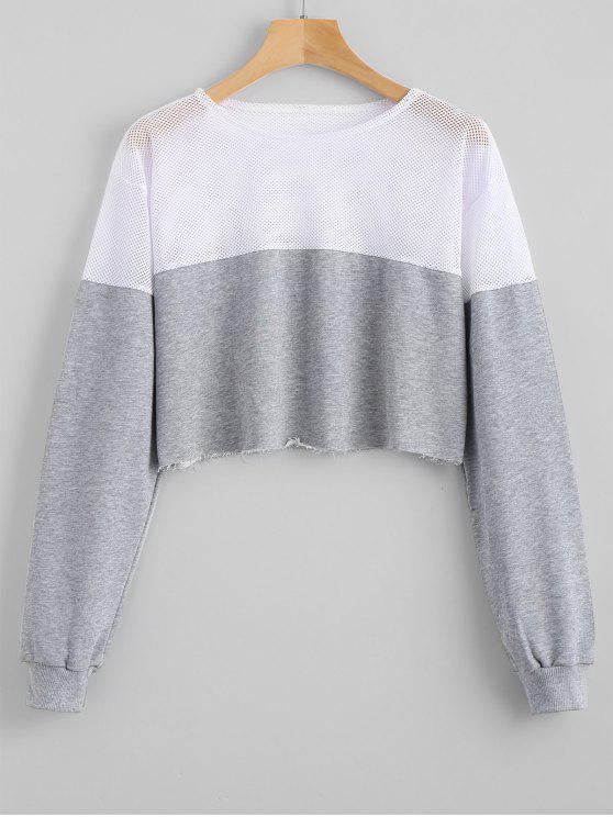 Contrasting Cropped Mesh Panel Sweatshirt - Gray L