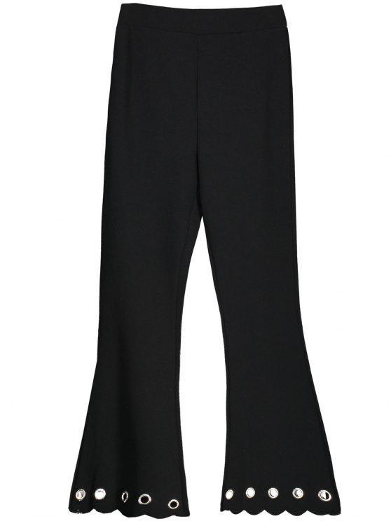 Pantalon Bootcut à Bas Crénelé Ajouré - Noir S