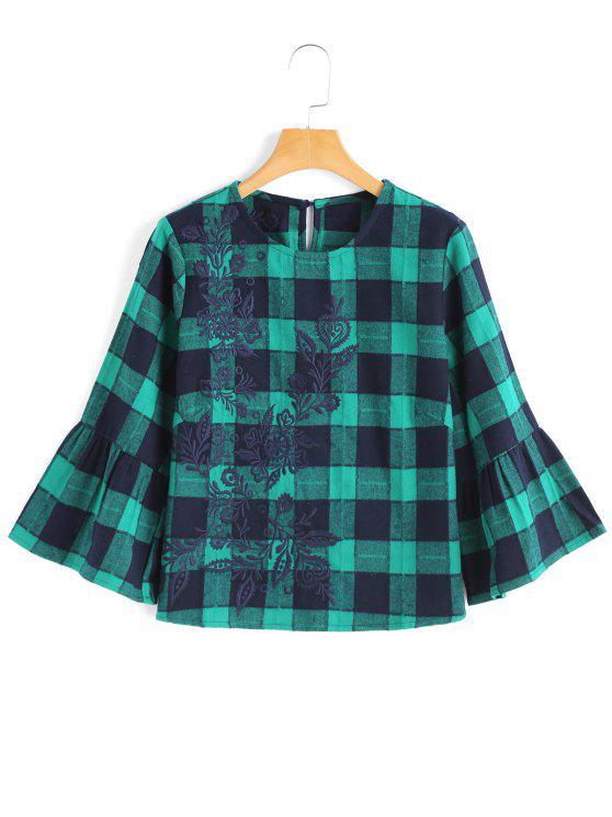 Blusa a cuadros Bordada - Verde S