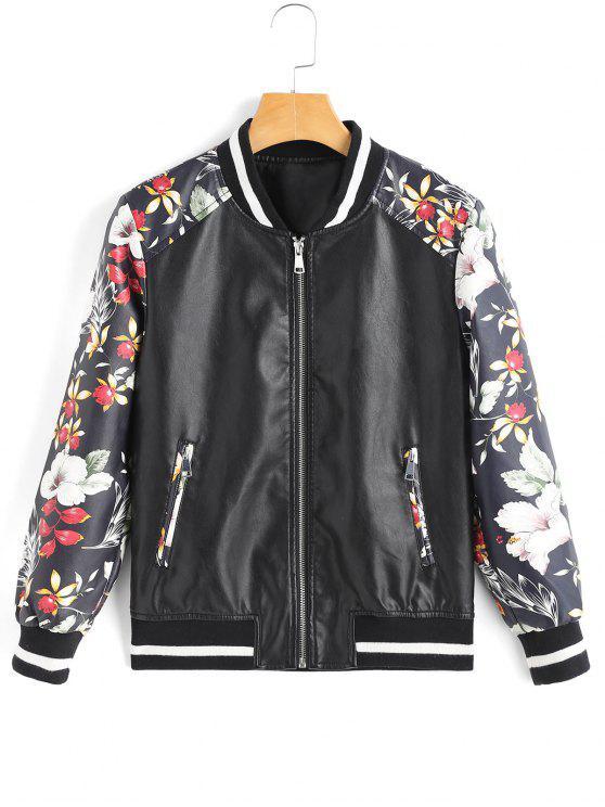 unique Floral Contrasting Faux Leather Jacket - BLACK S