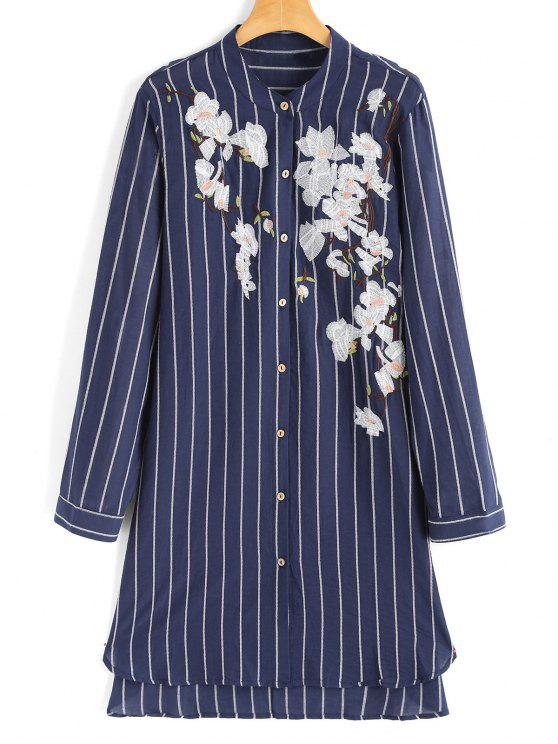 affordable Floral Embroidered Stripes High Low Shirt Dress - STRIPE ONE SIZE