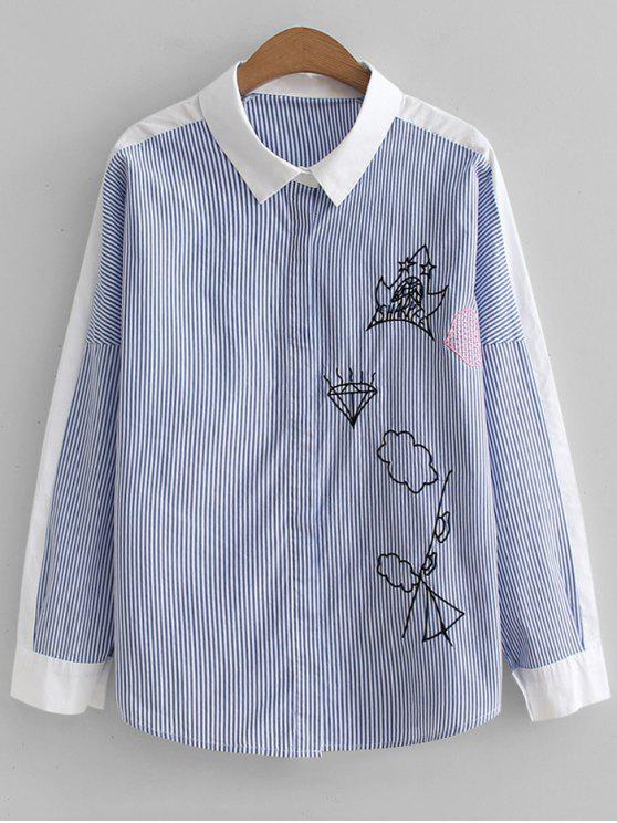 Rayas en contraste camisa bordada - Raya Única Talla