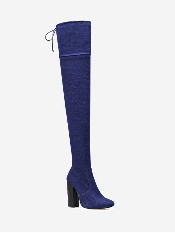 lady High Heel Denim Thigh High Boots - CERULEAN 38