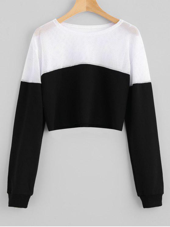 Kontrastiertes Crop Sweatshirt mit Mesh Panel - Schwarz M