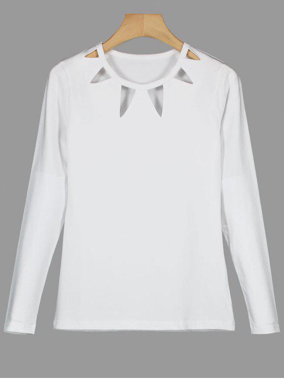 Camiseta de manga larga sin mangas - Blanco M