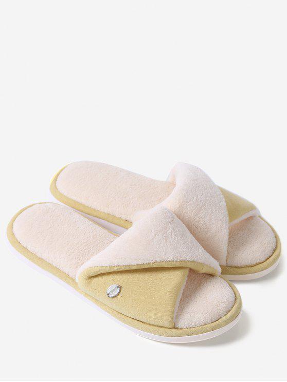 shops Faux Fur Warm Open Toe House Slippers - YELLOW SIZE(38-39)