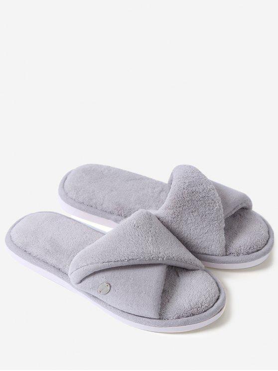 Zapatillas abiertas de la piel del dedo del pie de la piel falsa - Gris Tamaño (38-39)