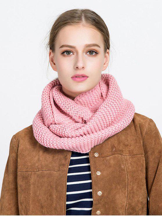 best Plain Woolen Yarn Knit Infinite Scarf - PINK