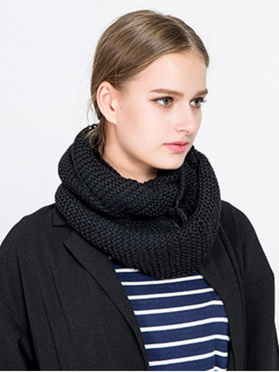 outfit Plain Woolen Yarn Knit Infinite Scarf - BLACK
