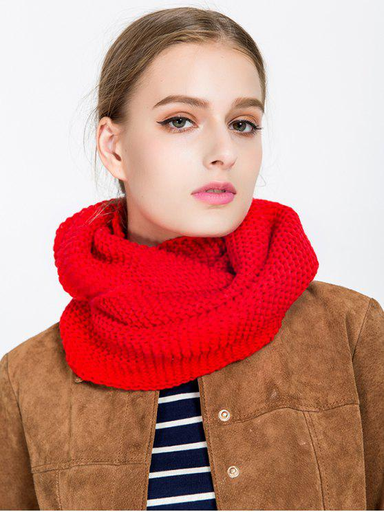 outfits Plain Woolen Yarn Knit Infinite Scarf - RED