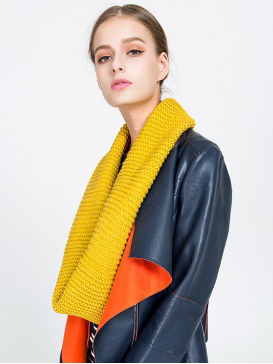 shops Plain Woolen Yarn Knit Infinite Scarf - YELLOW