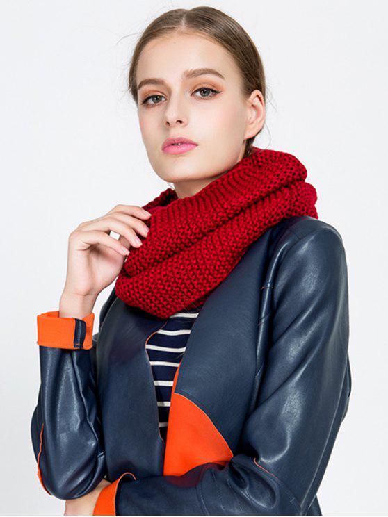 trendy Plain Woolen Yarn Knit Infinite Scarf - WINE RED