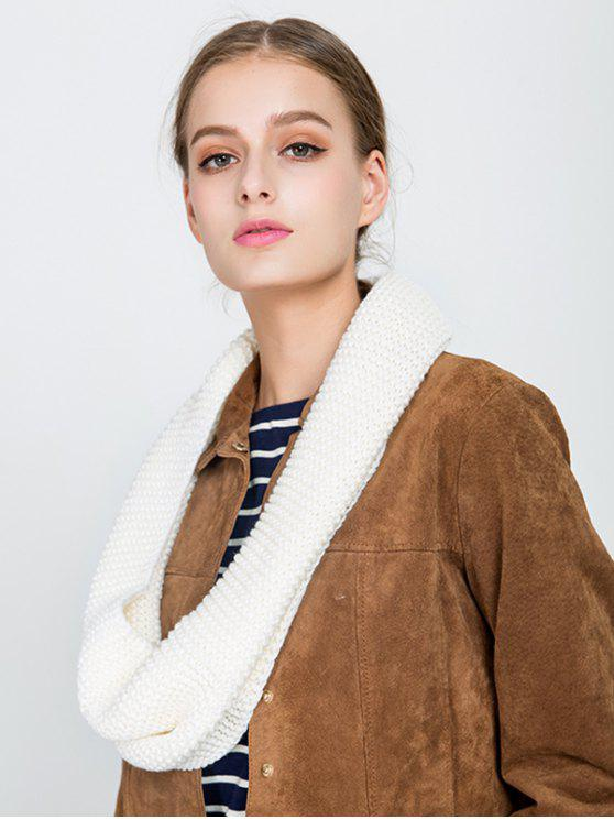 fashion Plain Woolen Yarn Knit Infinite Scarf - BEIGE