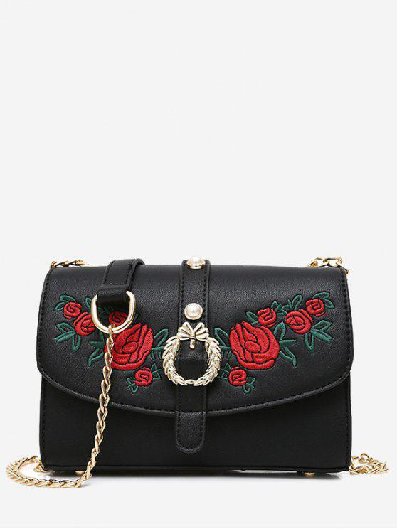 women's Embroidery Faux Pearl Metal Detailed Crossbody Bag - BLACK