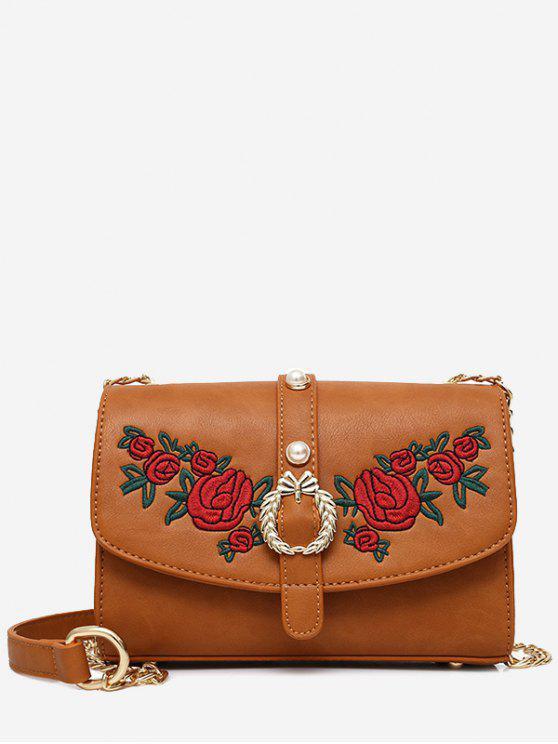 ladies Embroidery Faux Pearl Metal Detailed Crossbody Bag - BROWN