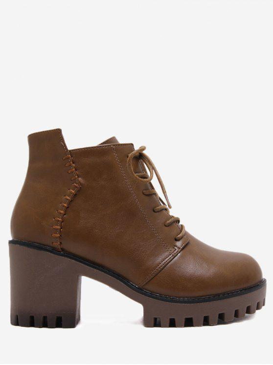 women Side Zip Chunky Heel Ankle Boots - BROWN 36