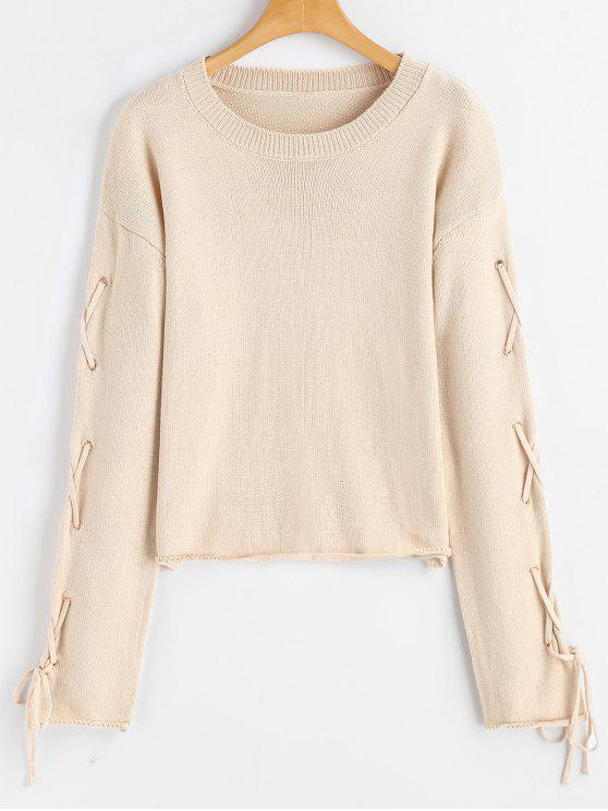 Lace Up Criss Cross Pullover Sweater APRICOT: Sweaters M | ZAFUL