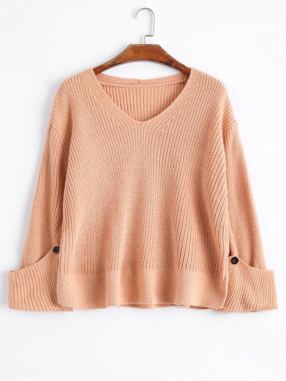 Curled Sleeve V Neck Sweater de gran tamaño - Naranja Rosa Única Talla