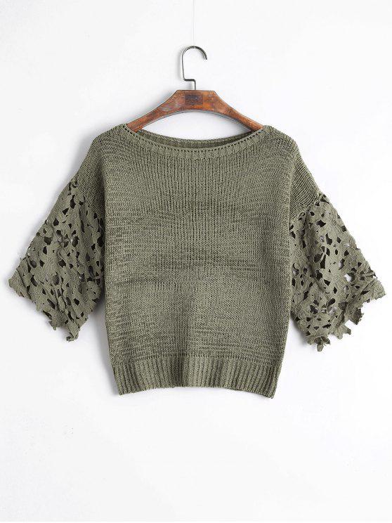 Suéter de encaje transparente - Verde Salvia Única Talla