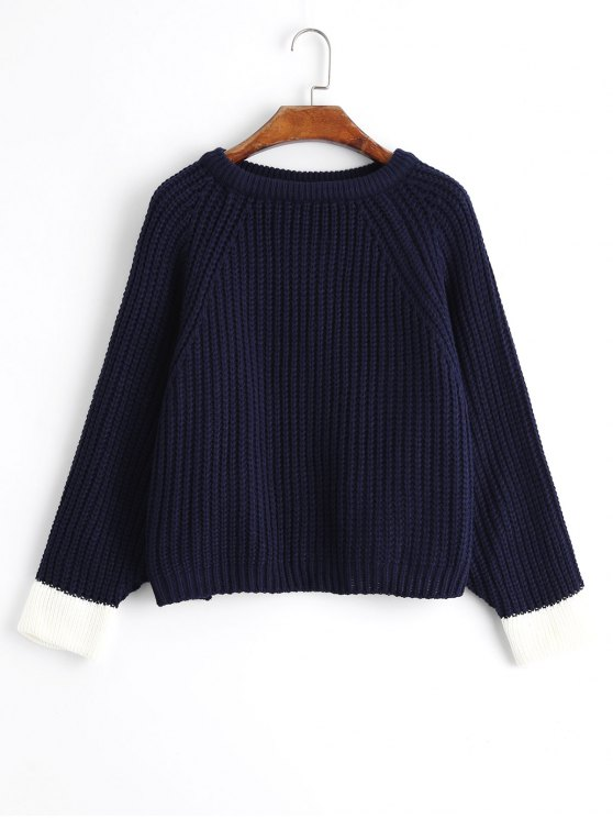 f208c119a5207f 33% OFF  2019 Cropped Oversized Two Tone Sweater In PURPLISH BLUE ...