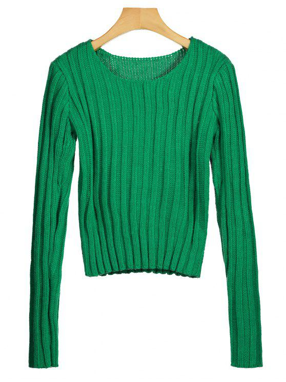 Rundhals Chunky Pullover - Grün Eine Größe