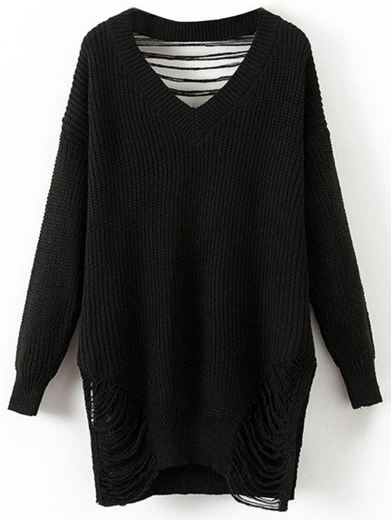 Oversized Destroyed V Neck Pullover Sweater BLACK: Sweaters ONE ...
