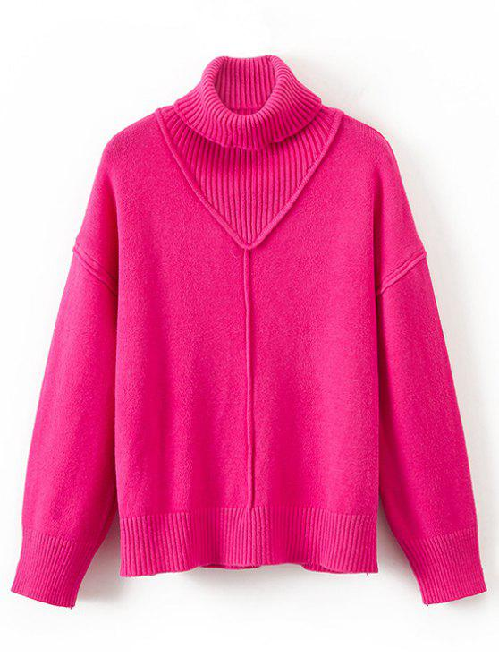 unique Ribbed Panel Turtleneck Pullover Sweater - ROSE RED ONE SIZE