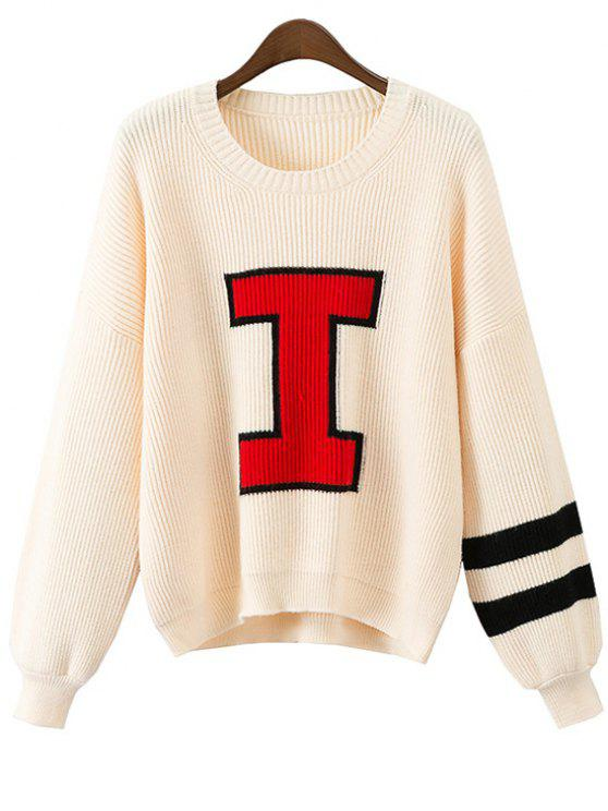 Contrasting Jacquard Pullover Sweater OFF-WHITE: Sweaters ONE SIZE ...