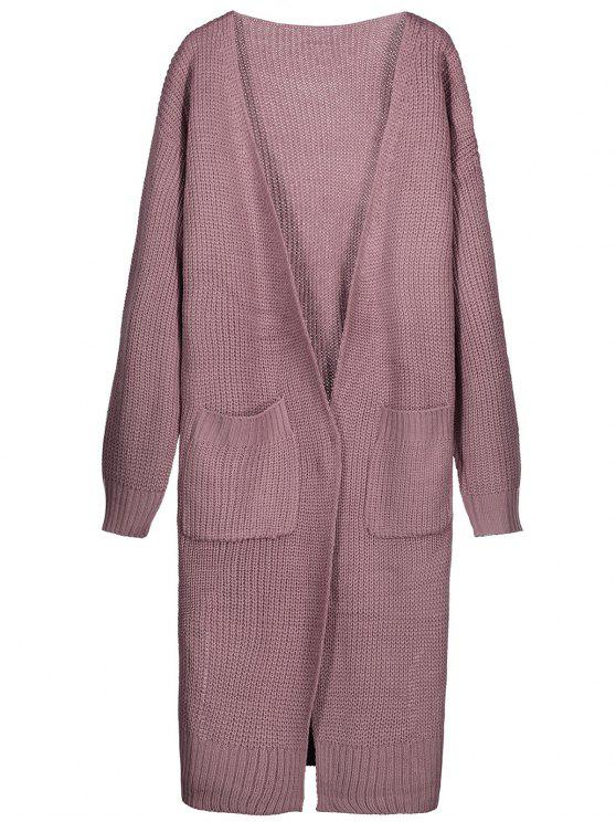 Side Slit Open Front Longline Cardigan PINKISH PURPLE: Sweaters ...