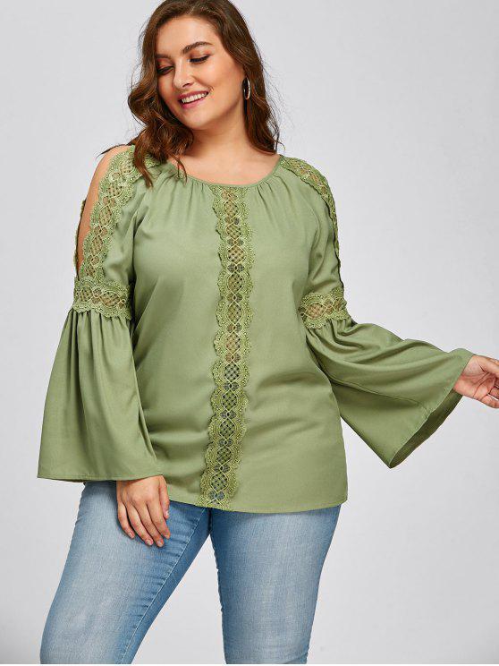Talla de encaje recortado Blusa mangas de corte - Guisante Verde 5XL