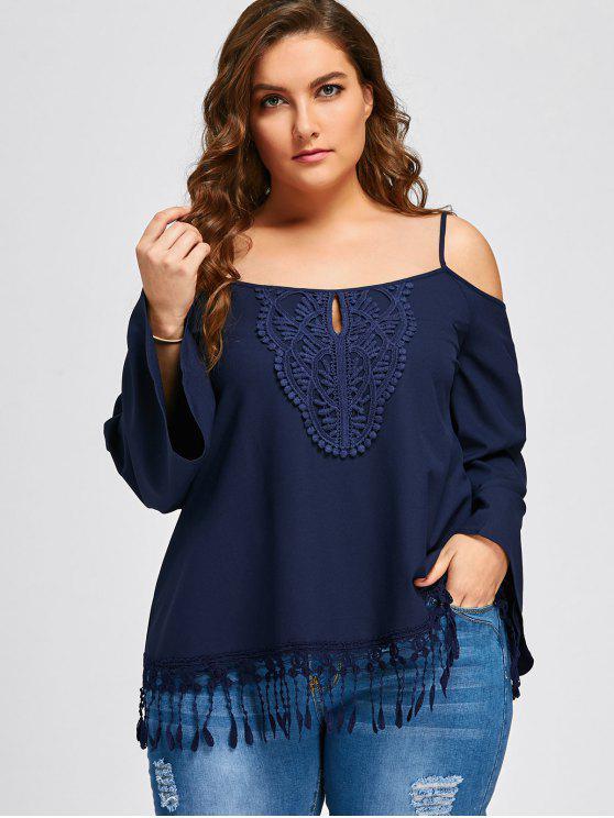 Blusa de franja de hombro frío tamaño Plus - Azul Purpúreo 5XL