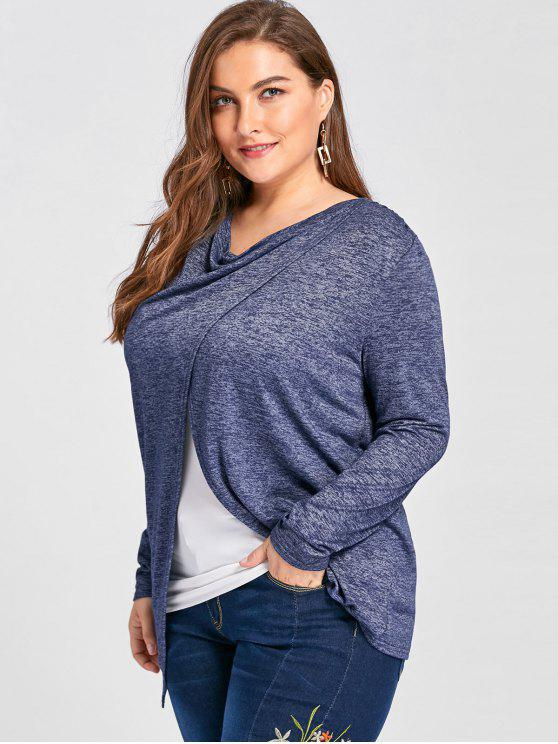 lady Plus Size Front Slit Cowl Neck Top - BLUE 4XL
