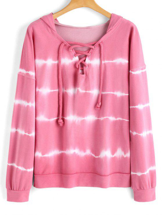 fashion Lace Up Tie Dyed Hoodie - PINKISH PURPLE M
