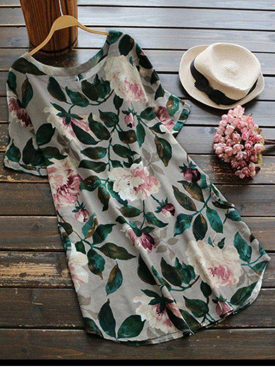 unique Casual Floral A-Line Dress - GREEN L