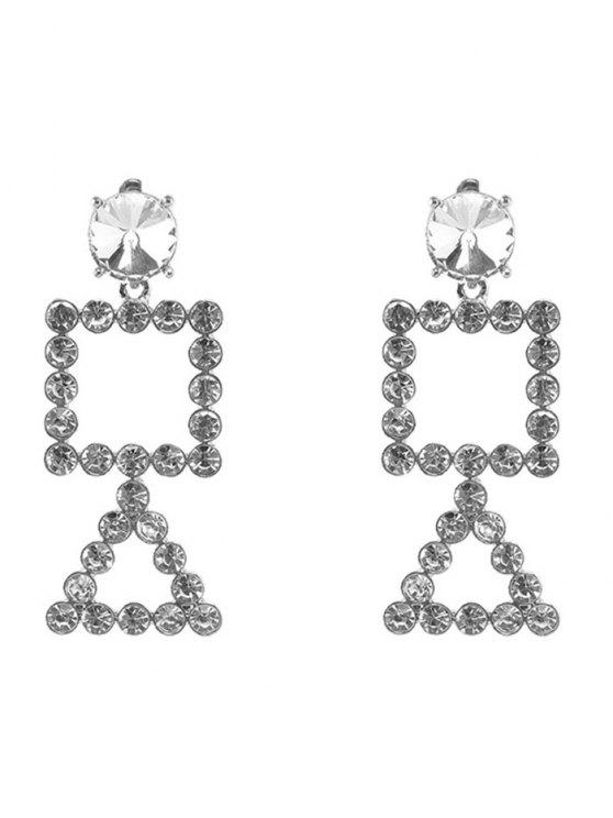 Rhinestone Triangle Geometric Dangle Earrings - Argent