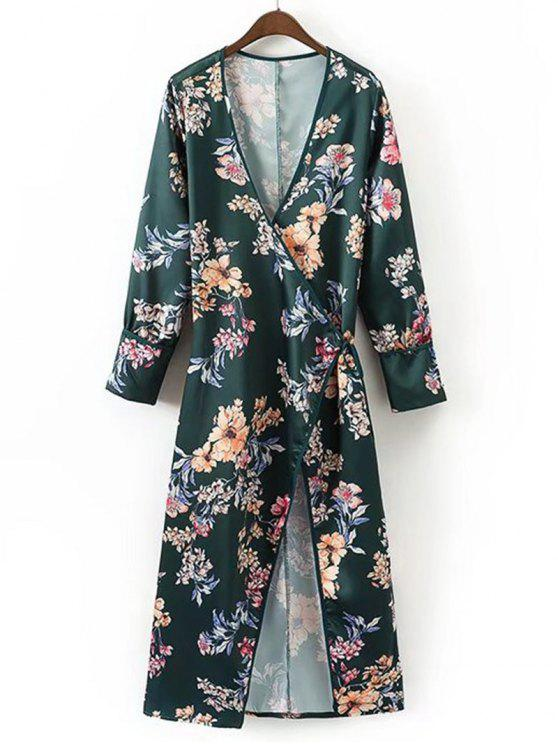Robe Longue Cache-Coeur Florale à Manches Longues - Floral S