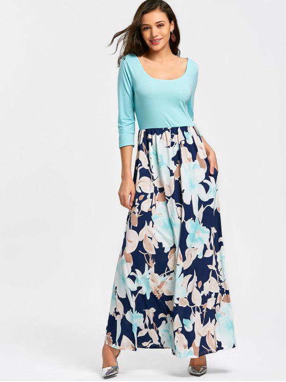 Robe Longue Imprimée Florale à Col en U - Bleu Ciel S