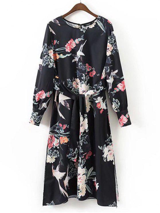Belted Slit Floral vestido de manga comprida - Floral M
