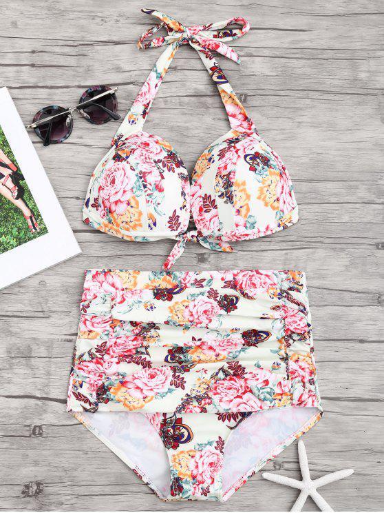 Bikini à Taille Haute Push-Up Froncé Motif Floral - Floral S