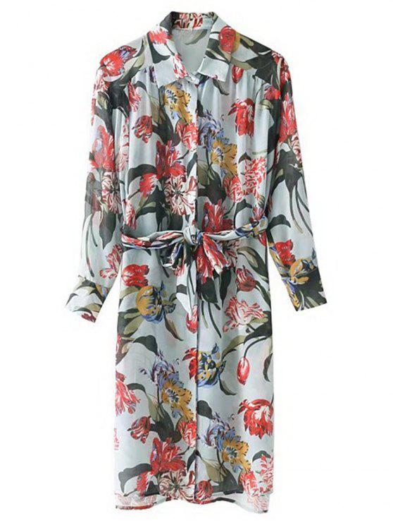 best Belted Long Sleeve Floral Shirt Dress - FLORAL S