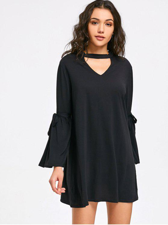 ow Tied Sleeve Choker Mini Dress - Black
