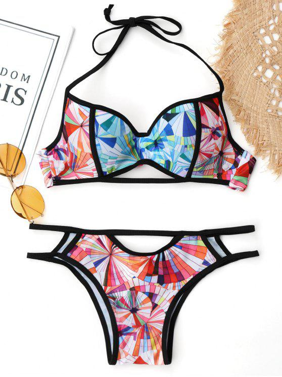 womens Cut Out Printed Underwire Push Up Bikini - COLORMIX S