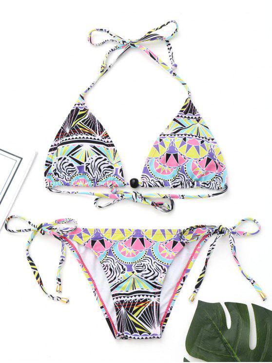 Bikini de halter con parte inferior de bikini de cadenas - Colores Mezclados S