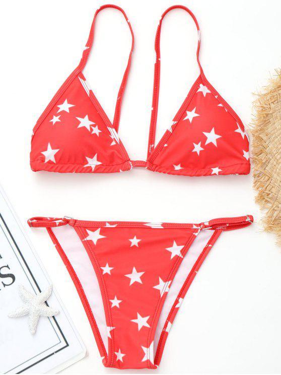 High Cut Pentagram Print Bikini - Rojo L
