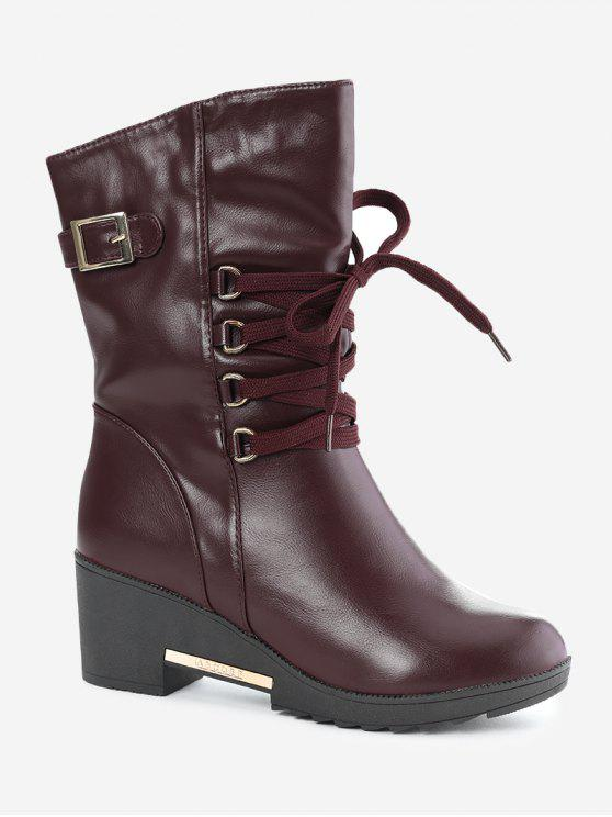 lady Buckle Strap Wedge Heel Mid Calf Boots - WINE RED 38