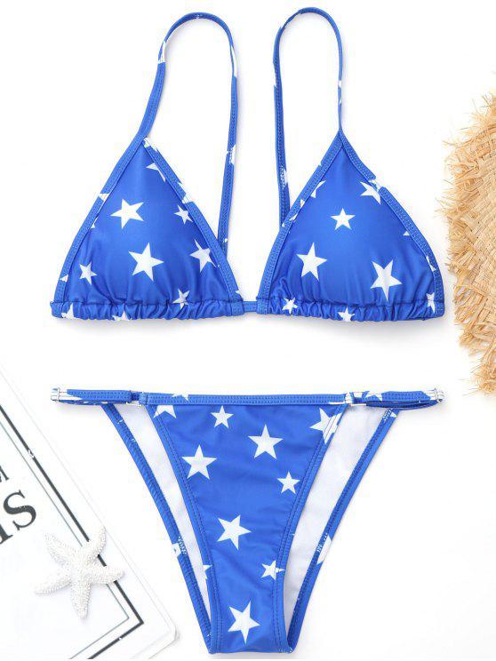 Bikini à imprimé pentagramme haute coupe - Bleu M