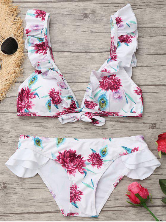 Plongeant Neck Ruffles Floral Maillot de bain - Blanc L