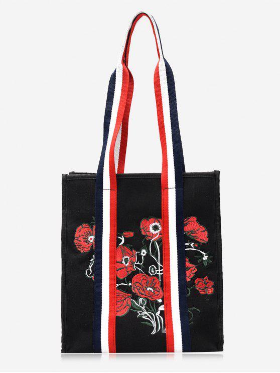 Gestreifte Stickerei-Blumen-Farben-Block-Handtasche - Schwarz